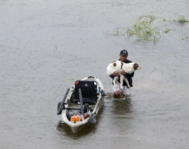 Aug. 27, 2017 – Houston, TX – A man holding his dog walks in water. (Song Qiong/Xinhua/Newscom)